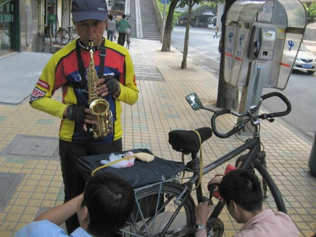 Mr. Wang on the sax