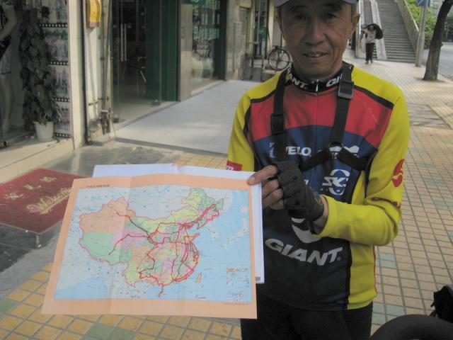Mr. Wang with his map